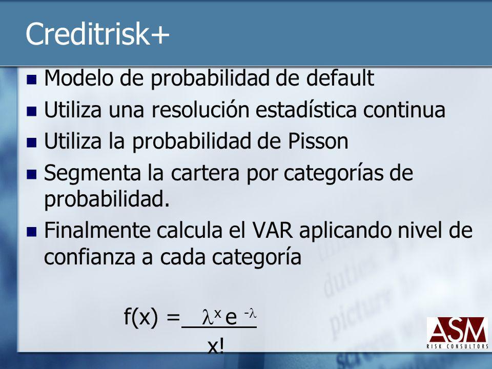 Creditrisk+ Modelo de probabilidad de default Utiliza una resolución estadística continua Utiliza la probabilidad de Pisson Segmenta la cartera por ca