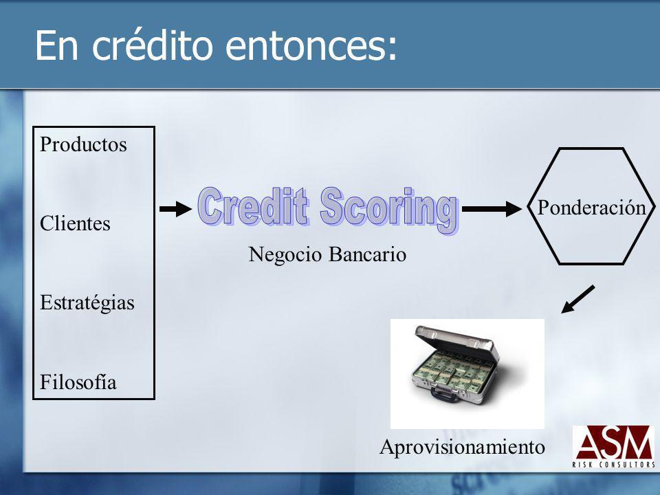 En crédito entonces: Negocio Bancario Ponderación Aprovisionamiento Productos Clientes Estratégias Filosofía