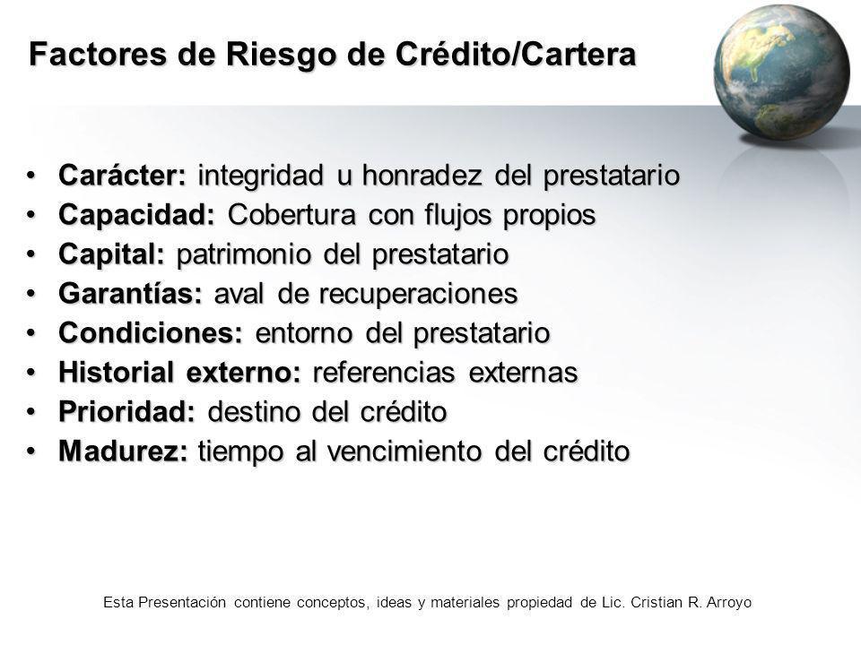 Esta Presentación contiene conceptos, ideas y materiales propiedad de Lic. Cristian R. Arroyo Factores de Riesgo de Crédito/Cartera Carácter: integrid