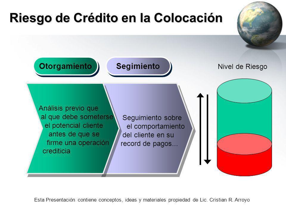 Esta Presentación contiene conceptos, ideas y materiales propiedad de Lic. Cristian R. Arroyo Riesgo de Crédito en la Colocación Otorgamiento Segimien