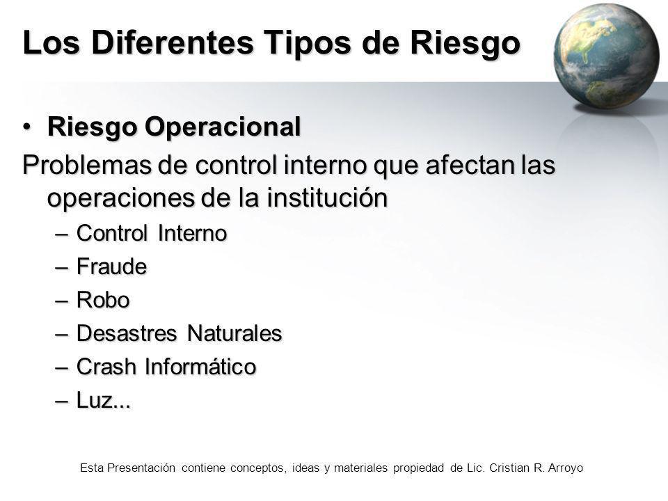 Esta Presentación contiene conceptos, ideas y materiales propiedad de Lic. Cristian R. Arroyo Los Diferentes Tipos de Riesgo Riesgo OperacionalRiesgo