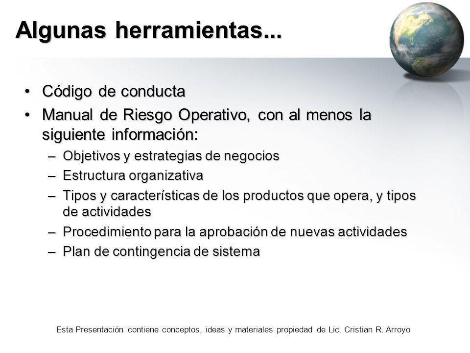 Esta Presentación contiene conceptos, ideas y materiales propiedad de Lic. Cristian R. Arroyo Algunas herramientas... Código de conductaCódigo de cond