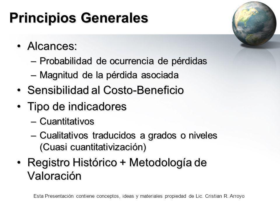 Esta Presentación contiene conceptos, ideas y materiales propiedad de Lic. Cristian R. Arroyo Principios Generales Alcances:Alcances: –Probabilidad de