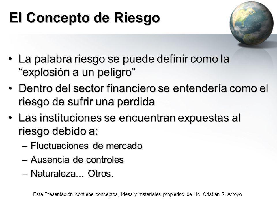 Esta Presentación contiene conceptos, ideas y materiales propiedad de Lic. Cristian R. Arroyo El Concepto de Riesgo La palabra riesgo se puede definir