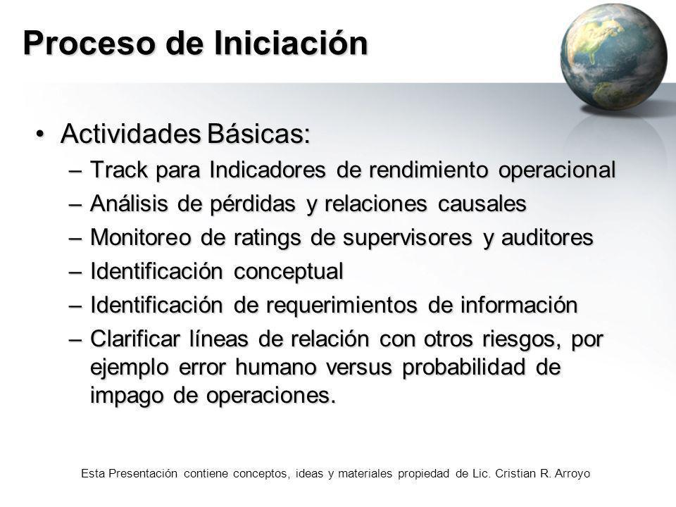 Esta Presentación contiene conceptos, ideas y materiales propiedad de Lic. Cristian R. Arroyo Proceso de Iniciación Actividades Básicas:Actividades Bá