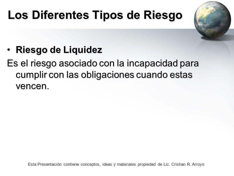Esta Presentación contiene conceptos, ideas y materiales propiedad de Lic. Cristian R. Arroyo Los Diferentes Tipos de Riesgo Riesgo de LiquidezRiesgo