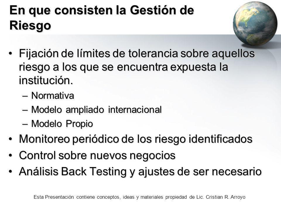 Esta Presentación contiene conceptos, ideas y materiales propiedad de Lic. Cristian R. Arroyo En que consisten la Gestión de Riesgo Fijación de límite