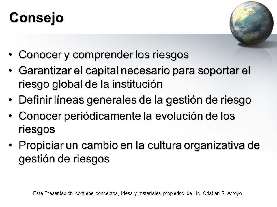 Esta Presentación contiene conceptos, ideas y materiales propiedad de Lic. Cristian R. Arroyo Consejo Conocer y comprender los riesgosConocer y compre