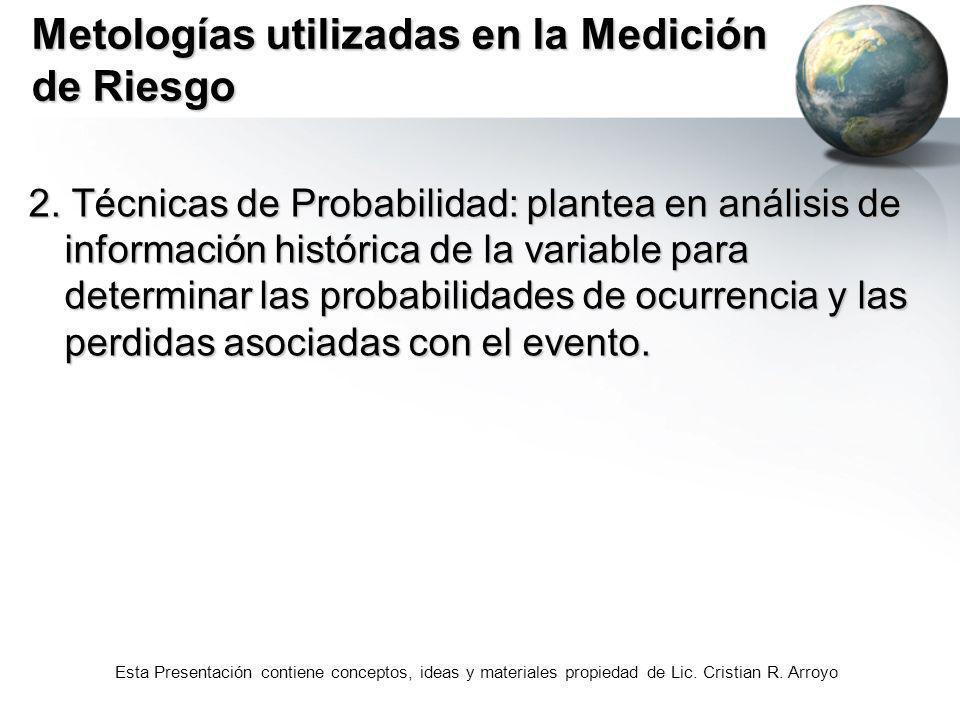 Esta Presentación contiene conceptos, ideas y materiales propiedad de Lic. Cristian R. Arroyo Metologías utilizadas en la Medición de Riesgo 2. Técnic
