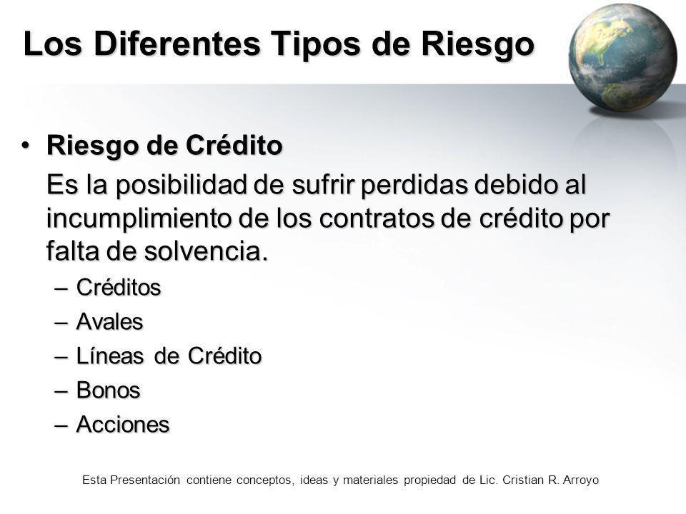 Esta Presentación contiene conceptos, ideas y materiales propiedad de Lic. Cristian R. Arroyo Los Diferentes Tipos de Riesgo Riesgo de CréditoRiesgo d
