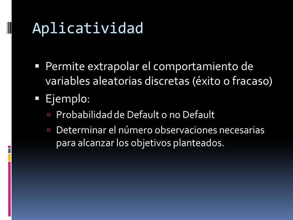 Aplicatividad Permite extrapolar el comportamiento de variables aleatorias discretas (éxito o fracaso) Ejemplo: Probabilidad de Default o no Default D