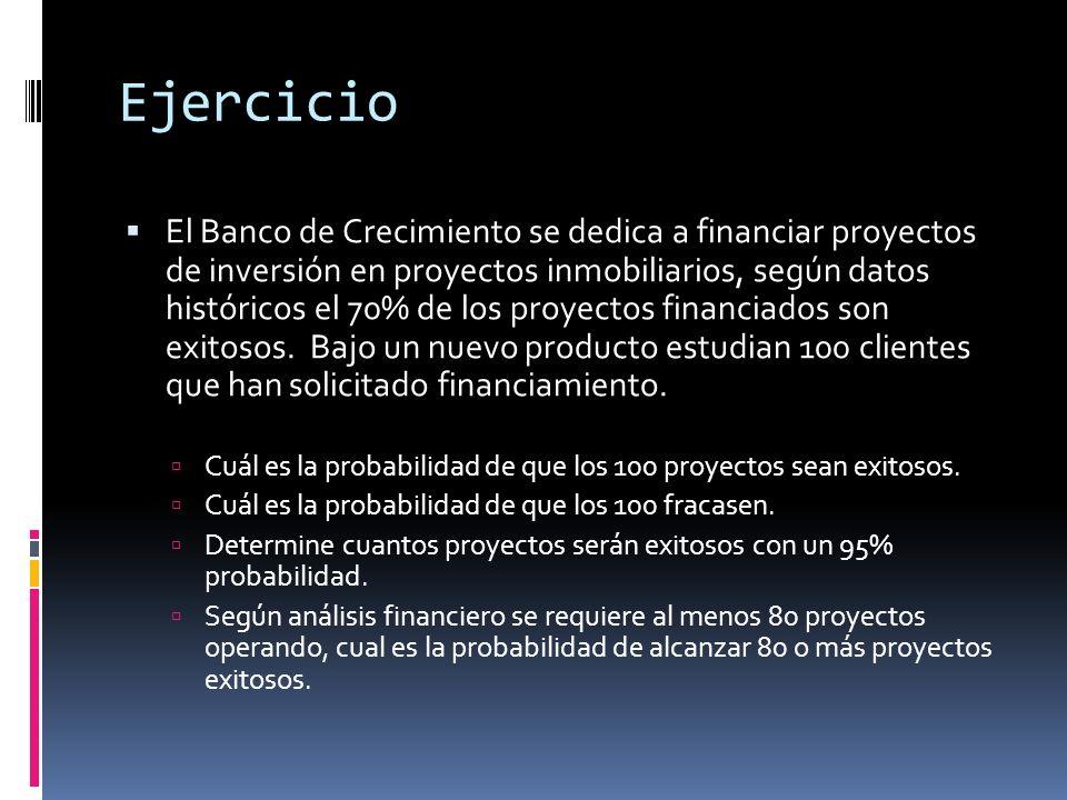 Ejercicio El Banco de Crecimiento se dedica a financiar proyectos de inversión en proyectos inmobiliarios, según datos históricos el 70% de los proyec