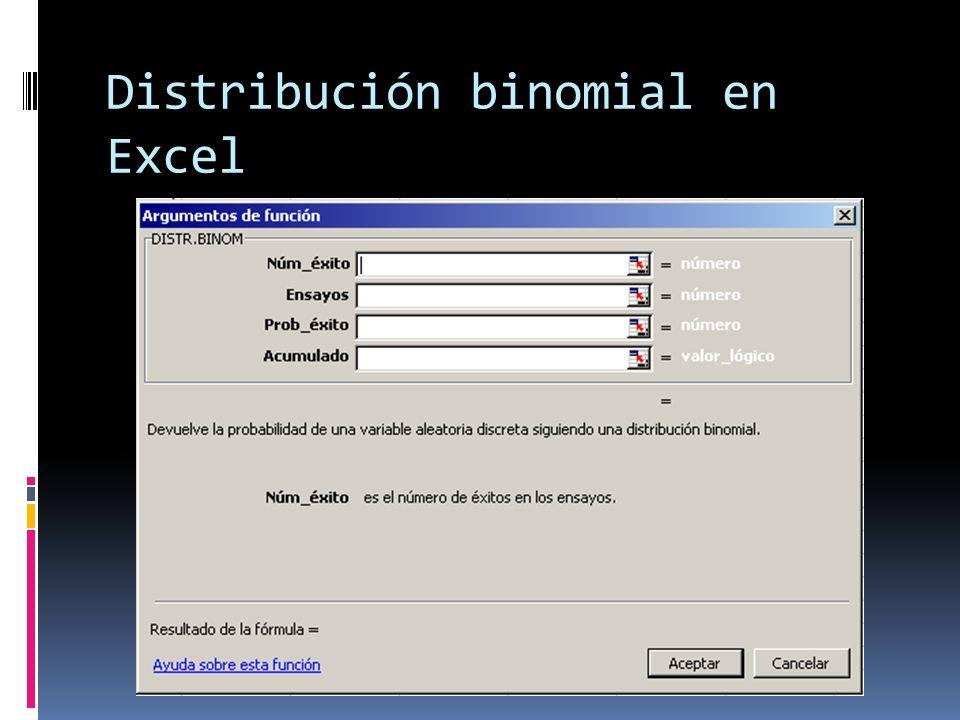 Distribución binomial en Excel