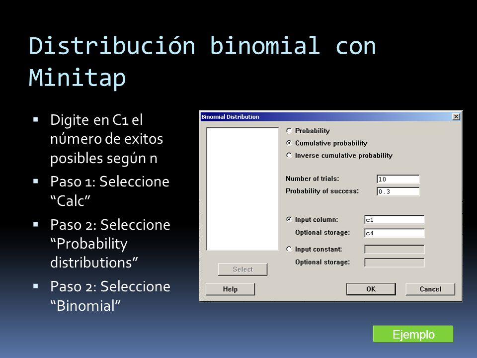 Distribución binomial con Minitap Digite en C1 el número de exitos posibles según n Paso 1: Seleccione Calc Paso 2: Seleccione Probability distributio