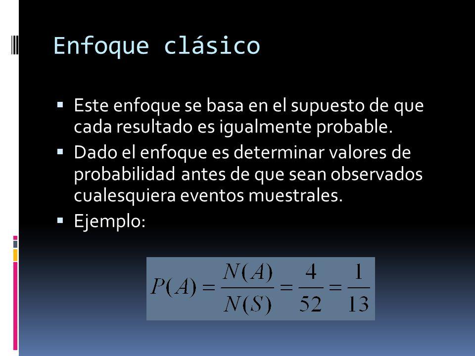 Enfoque de Frecuencias Relativas Esta probabilidad se determina con base en la proporción de veces en las que ocurre un resultado favorable en cierto número de observaciones o experimentos.
