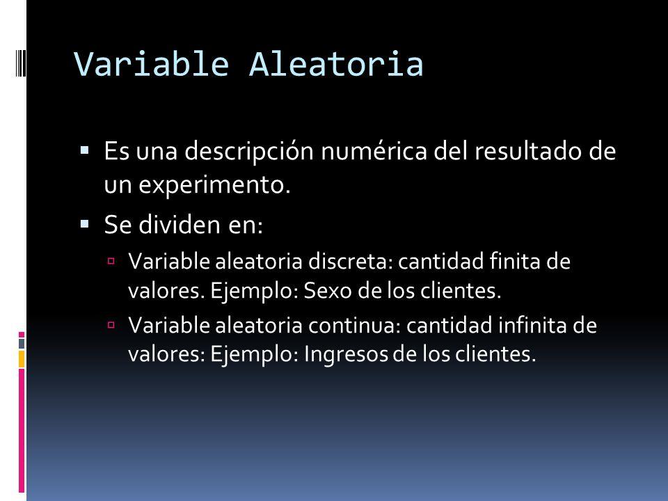 Variable Aleatoria Es una descripción numérica del resultado de un experimento. Se dividen en: Variable aleatoria discreta: cantidad finita de valores