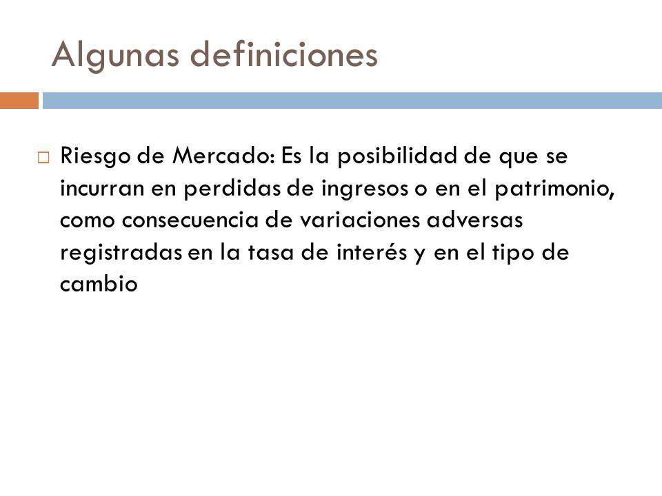 Algunas definiciones Riesgo de Mercado: Es la posibilidad de que se incurran en perdidas de ingresos o en el patrimonio, como consecuencia de variacio