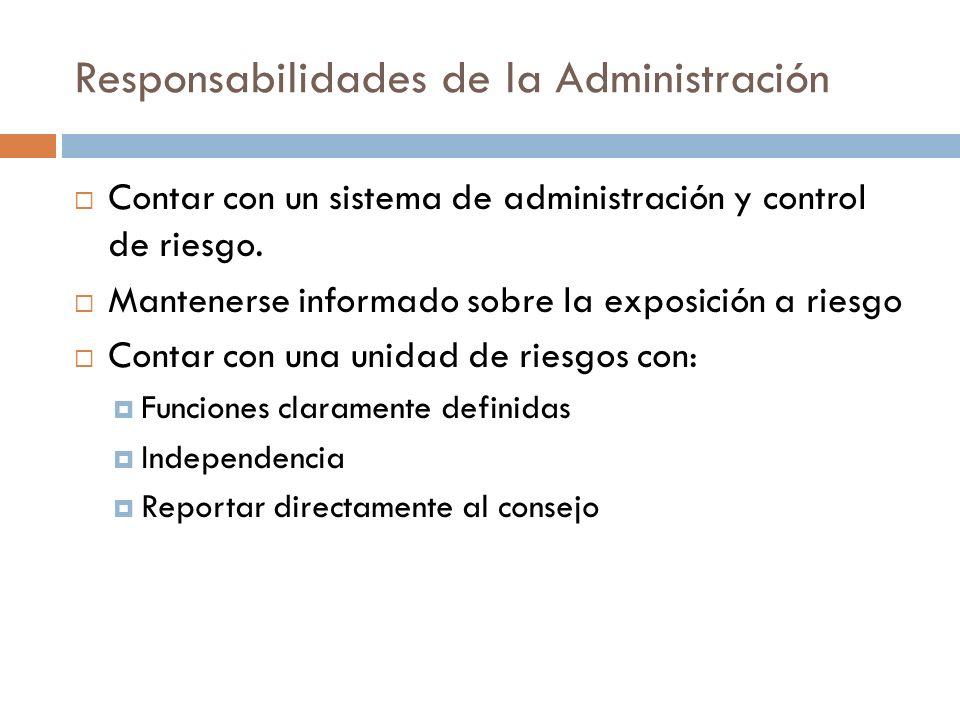 Responsabilidades de la Administración Contar con un sistema de administración y control de riesgo. Mantenerse informado sobre la exposición a riesgo