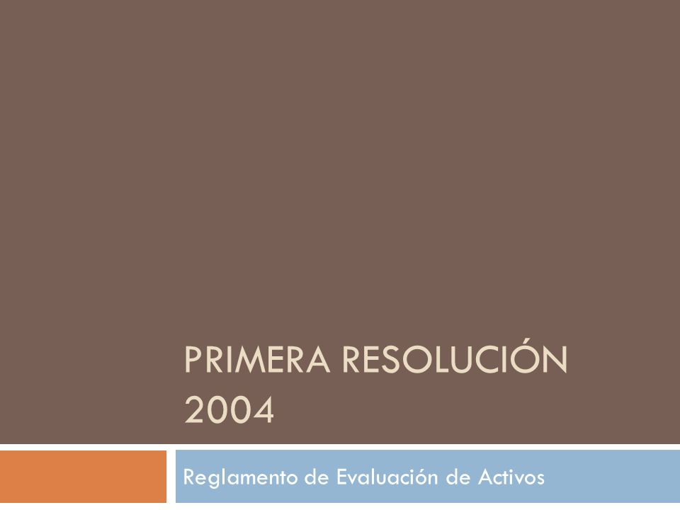 PRIMERA RESOLUCIÓN 2004 Reglamento de Evaluación de Activos
