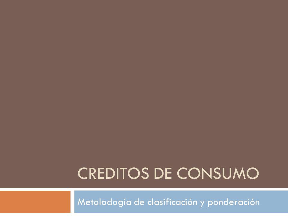 CREDITOS DE CONSUMO Metolodogía de clasificación y ponderación