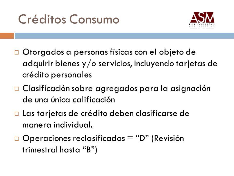 Créditos Consumo Otorgados a personas físicas con el objeto de adquirir bienes y/o servicios, incluyendo tarjetas de crédito personales Clasificación