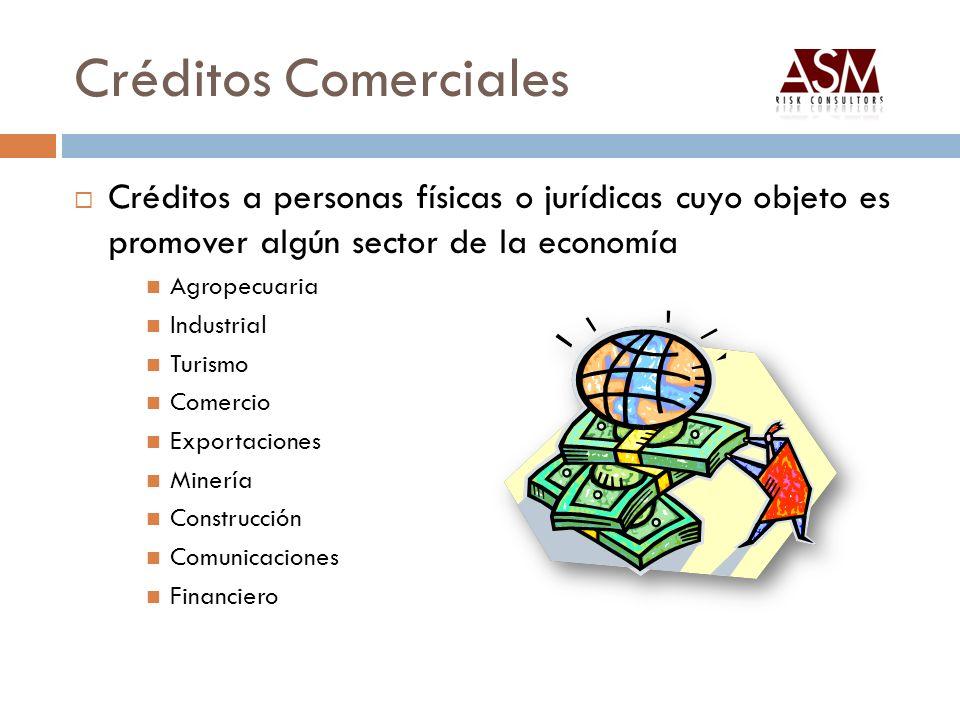 Créditos Comerciales Créditos a personas físicas o jurídicas cuyo objeto es promover algún sector de la economía Agropecuaria Industrial Turismo Comer