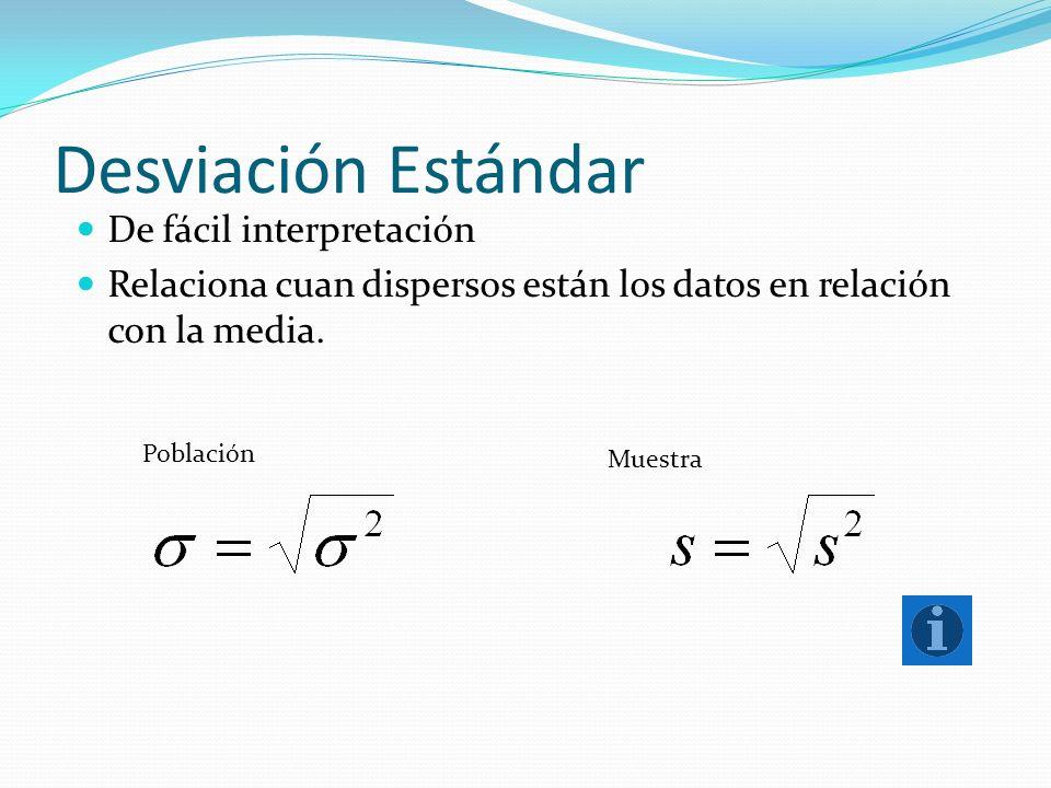 Desviación Estándar De fácil interpretación Relaciona cuan dispersos están los datos en relación con la media. Población Muestra