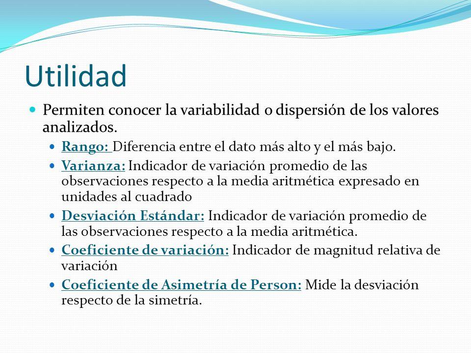 Utilidad Permiten conocer la variabilidad o dispersión de los valores analizados.