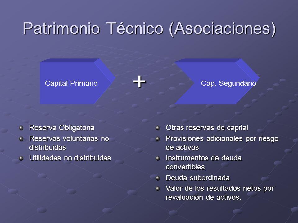 Patrimonio Técnico (Asociaciones) Reserva Obligatoria Reservas voluntarias no distribuidas Utilidades no distribuidas Otras reservas de capital Provis