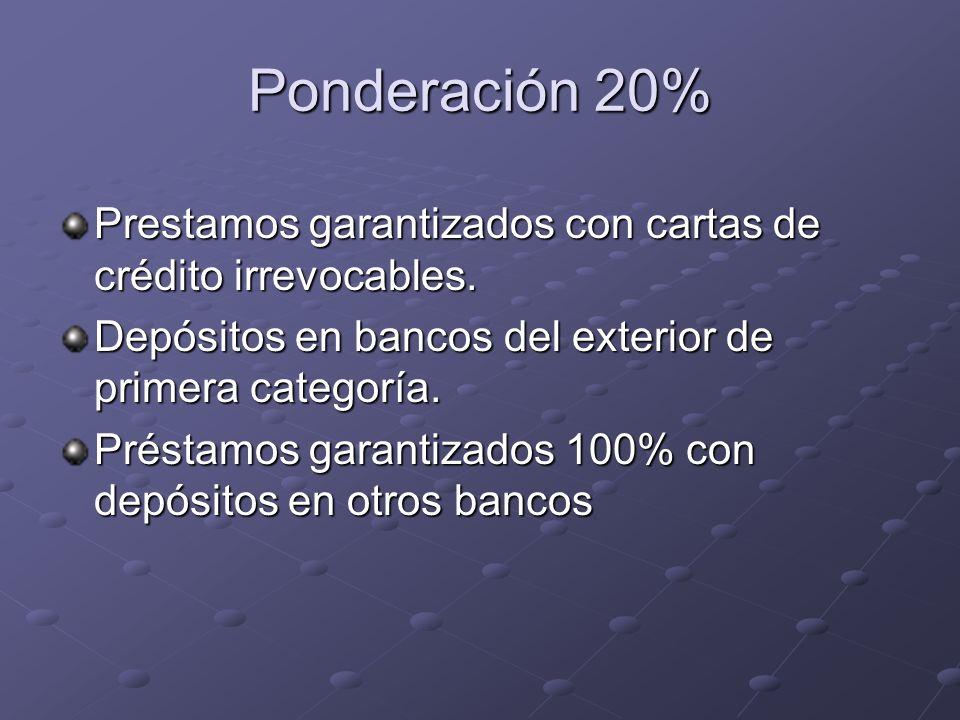 Ponderación 20% Prestamos garantizados con cartas de crédito irrevocables. Depósitos en bancos del exterior de primera categoría. Préstamos garantizad