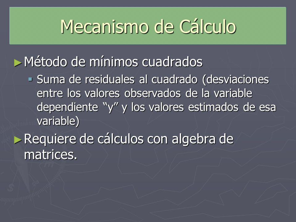 Mecanismo de Cálculo Método de mínimos cuadrados Método de mínimos cuadrados Suma de residuales al cuadrado (desviaciones entre los valores observados