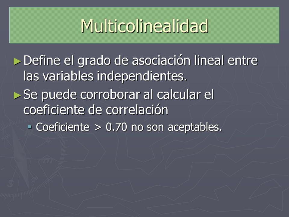Multicolinealidad Define el grado de asociación lineal entre las variables independientes. Define el grado de asociación lineal entre las variables in