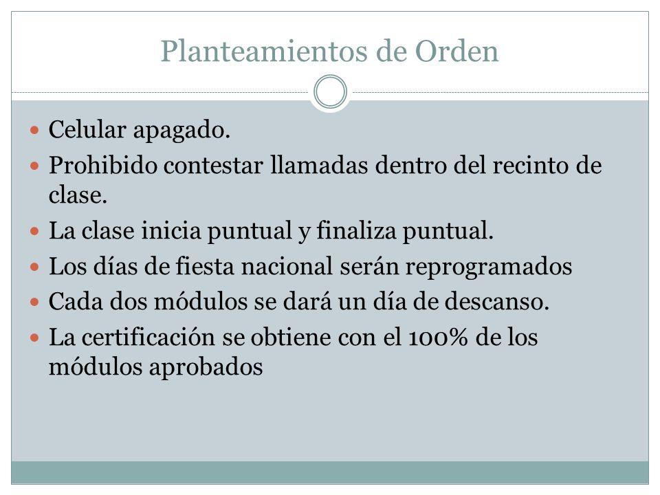 Planteamientos de Orden Celular apagado. Prohibido contestar llamadas dentro del recinto de clase.