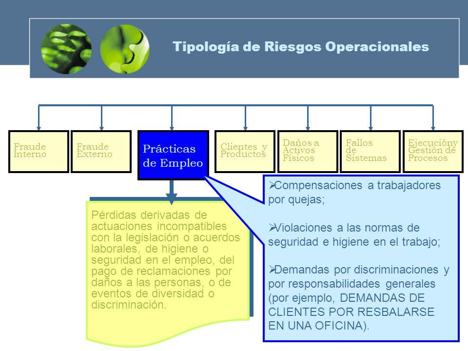 Fraude Externo Fraude Interno Clientes y Productos Daños a Activos Físicos Fallos de Sistemas Ejecucióny Gestión de Procesos Pérdidas derivadas de act