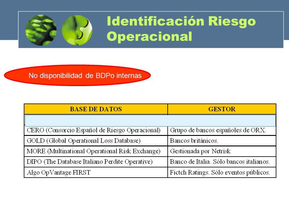 Identificación Riesgo Operacional No disponibilidad de BDPo internas