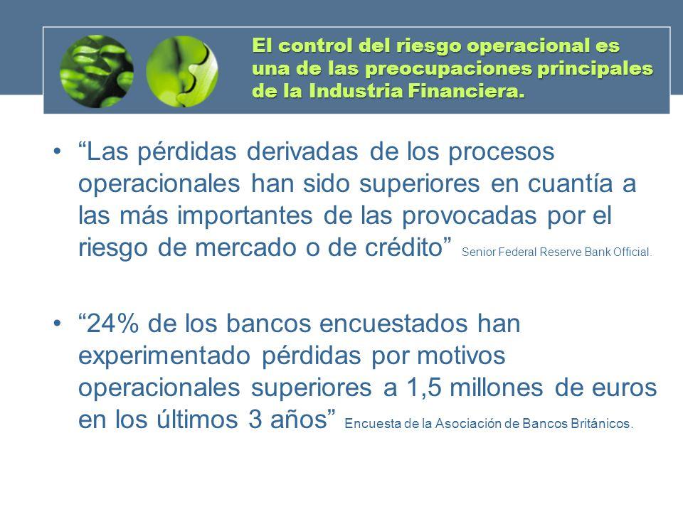 El control del riesgo operacional es una de las preocupaciones principales de la Industria Financiera. Las pérdidas derivadas de los procesos operacio