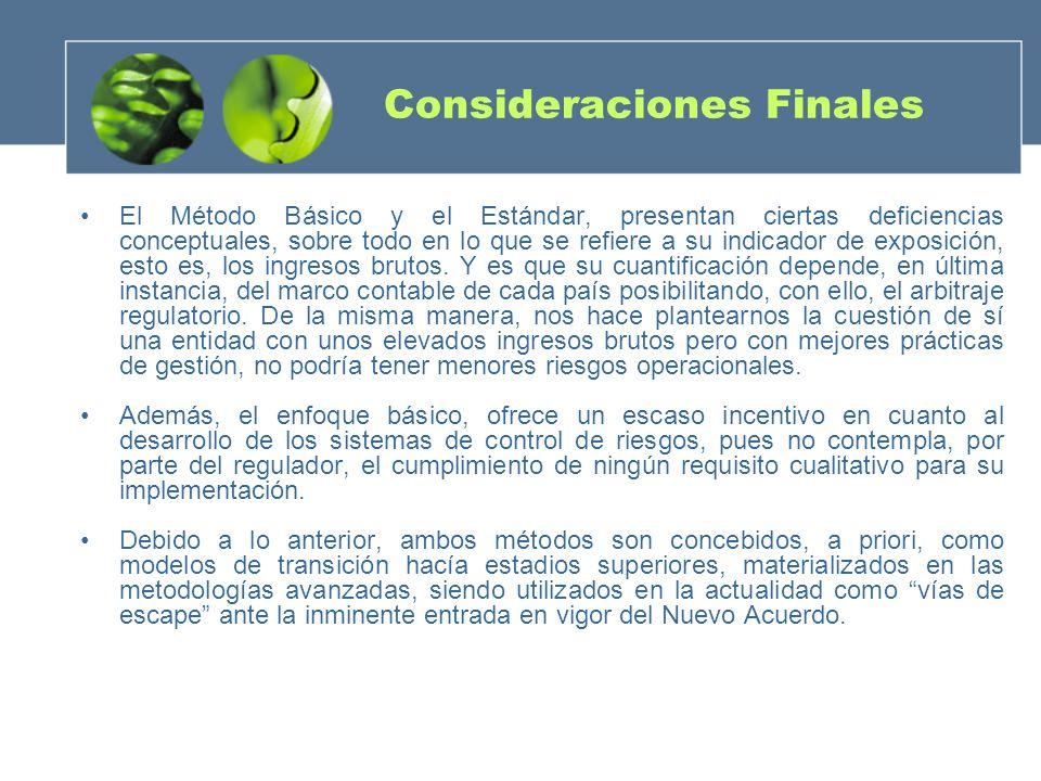 Consideraciones Finales El Método Básico y el Estándar, presentan ciertas deficiencias conceptuales, sobre todo en lo que se refiere a su indicador de