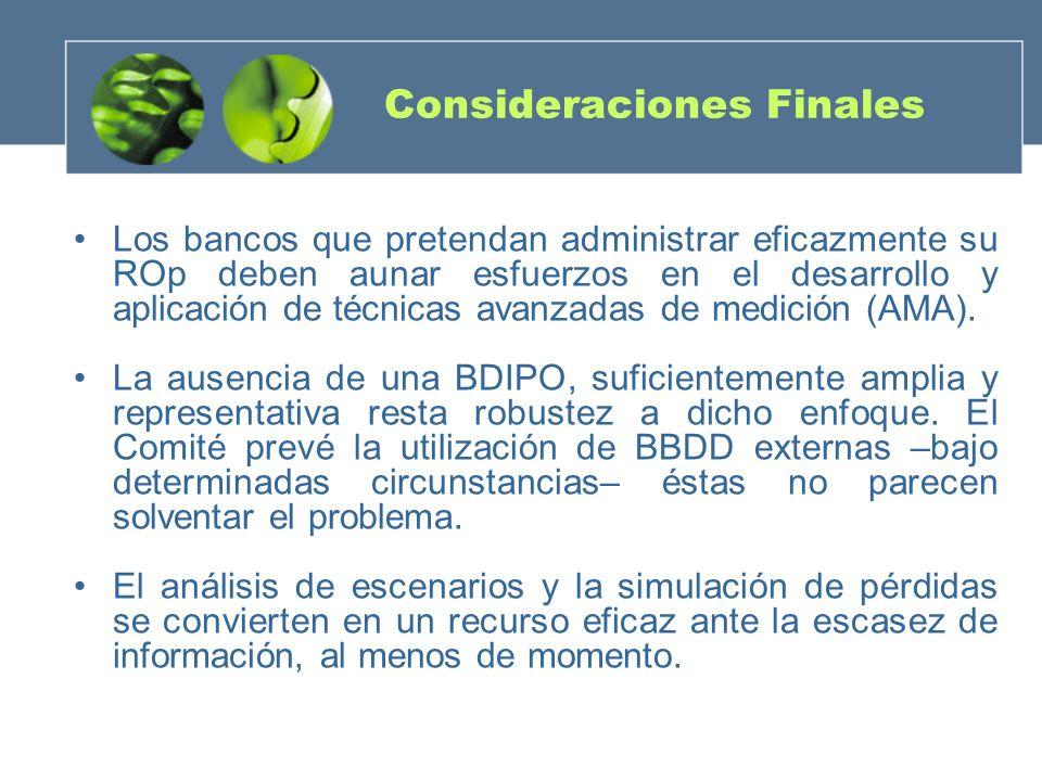 Consideraciones Finales Los bancos que pretendan administrar eficazmente su ROp deben aunar esfuerzos en el desarrollo y aplicación de técnicas avanza