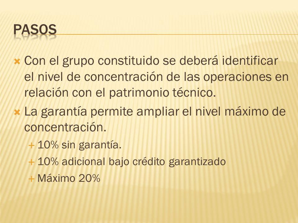 Con el grupo constituido se deberá identificar el nivel de concentración de las operaciones en relación con el patrimonio técnico. La garantía permite