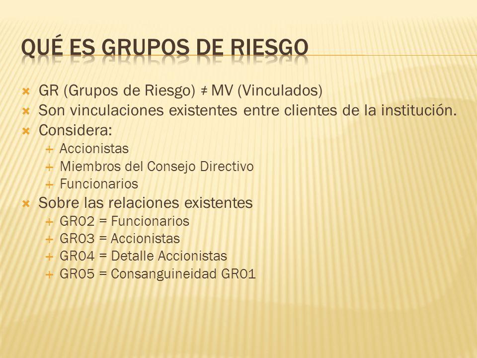 GR (Grupos de Riesgo) MV (Vinculados) Son vinculaciones existentes entre clientes de la institución. Considera: Accionistas Miembros del Consejo Direc