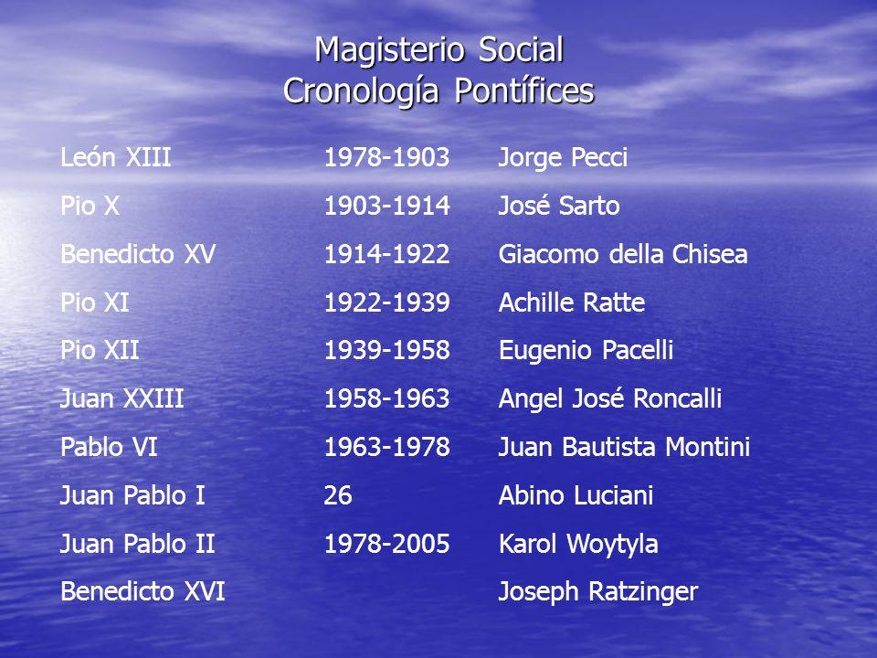 Magisterio Social Cronología Pontífices León XIII1978-1903Jorge Pecci Pio X1903-1914José Sarto Benedicto XV1914-1922Giacomo della Chisea Pio XI1922-19