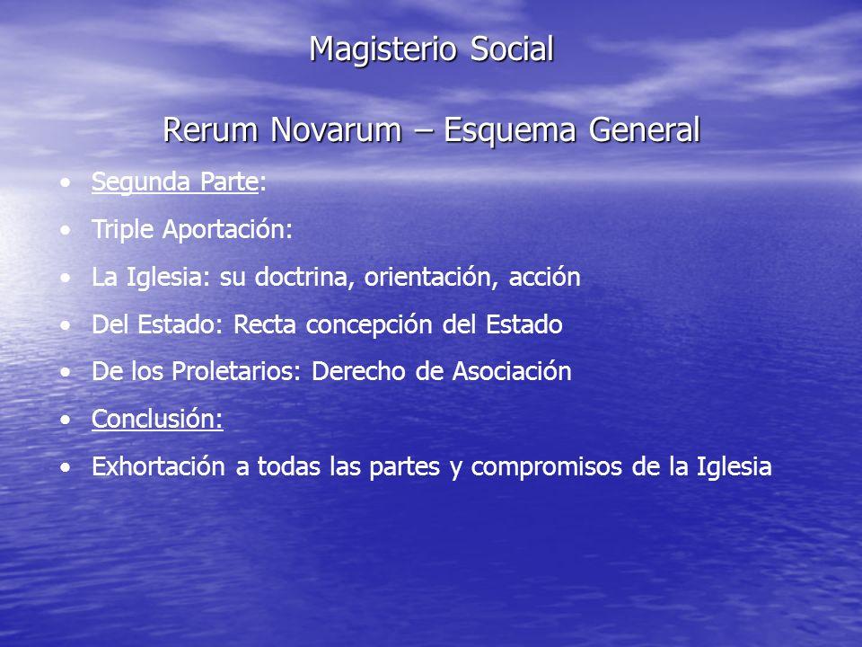 Magisterio Social Rerum Novarum – Esquema General Segunda Parte: Triple Aportación: La Iglesia: su doctrina, orientación, acción Del Estado: Recta con