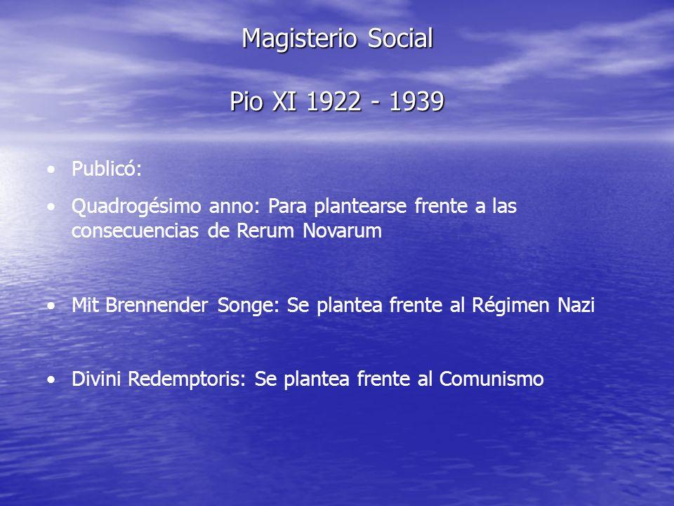Magisterio Social Pio XI 1922 - 1939 Publicó: Quadrogésimo anno: Para plantearse frente a las consecuencias de Rerum Novarum Mit Brennender Songe: Se