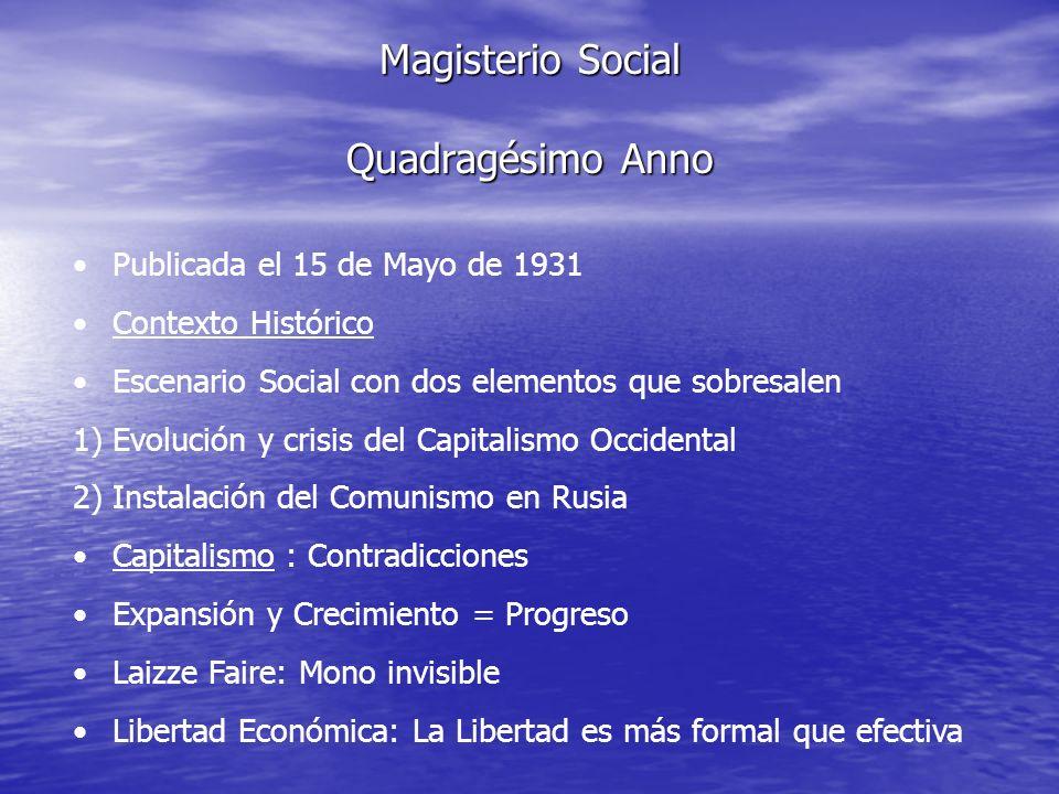 Magisterio Social Quadragésimo Anno Publicada el 15 de Mayo de 1931 Contexto Histórico Escenario Social con dos elementos que sobresalen 1)Evolución y