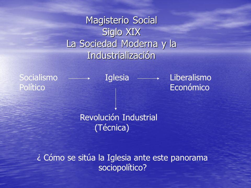 Magisterio Social Siglo XIX La Sociedad Moderna y la Industrialización Socialismo IglesiaLiberalismo PolíticoEconómico Revolución Industrial (Técnica)