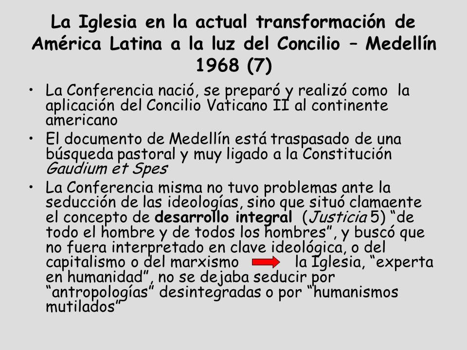 La Iglesia en la actual transformación de América Latina a la luz del Concilio – Medellín 1968 (8) El enfoque (Mensaje a los Pueblos de América Latina): A la luz de la fe que profesamos como creyentes, hemos realizado un esfuerzo para descubrir el plan de Dios en los signos de los tiempos.