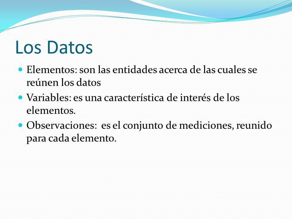 Los Datos Elementos: son las entidades acerca de las cuales se reúnen los datos Variables: es una característica de interés de los elementos. Observac
