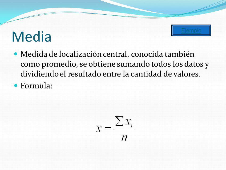 Media Medida de localización central, conocida también como promedio, se obtiene sumando todos los datos y dividiendo el resultado entre la cantidad d
