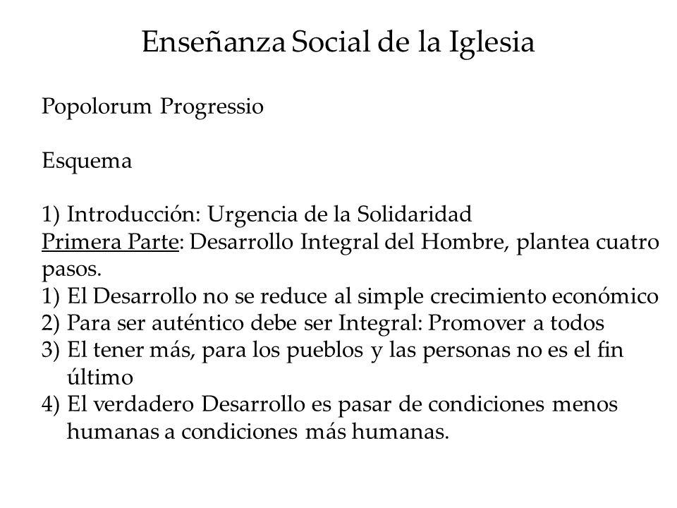 Enseñanza Social de la Iglesia Popolorum Progressio Esquema 1)Introducción: Urgencia de la Solidaridad Primera Parte: Desarrollo Integral del Hombre,
