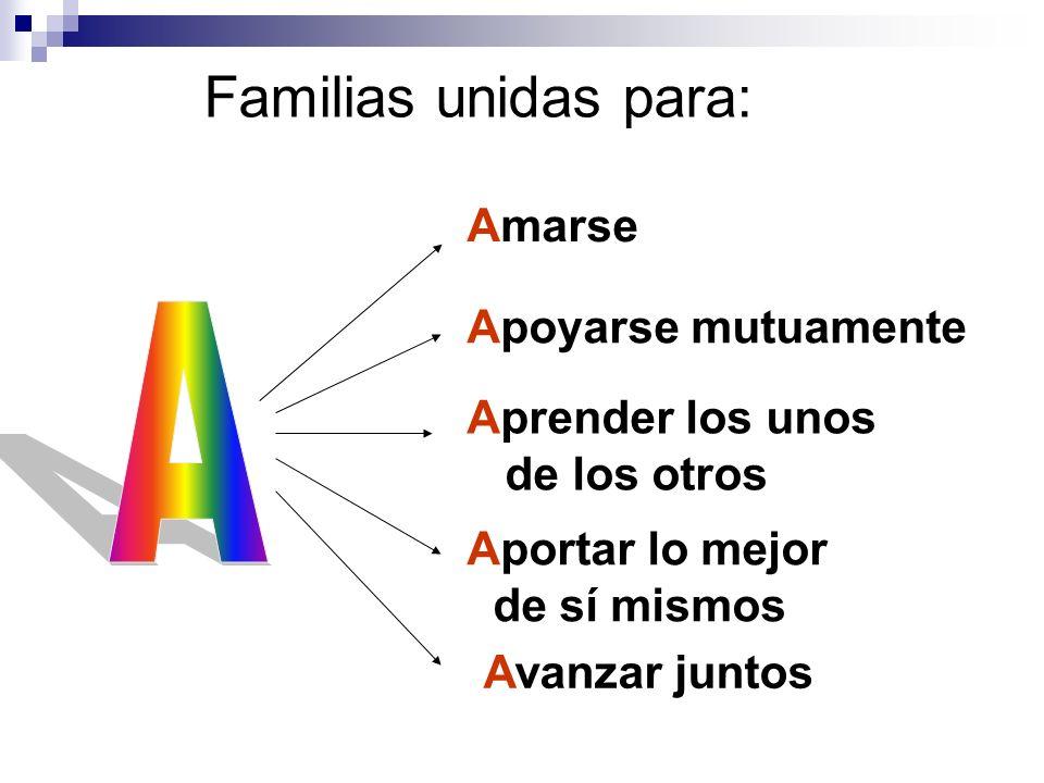 Familias unidas para: Amarse Aprender los unos de los otros Avanzar juntos Aportar lo mejor de sí mismos Apoyarse mutuamente